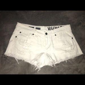 Volcom white jean shorts